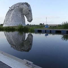 Kelpies by the canal (velton) Tags: uk horse square scotland clyde boat canal britain farm great scottish forth helix cart barge grangemouth falkirk drey kelpies
