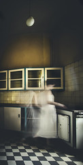 when the work is done (antitude) Tags: abandoned sanatorium hospital girl ghost dress white kitchen housework decay me