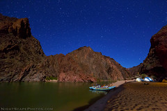"Grand Canyon river camp by moonlight and stars (IronRodArt - Royce Bair (""Star Shooter"")) Tags: nightphotography camping camp lightpainting river stars nightscape grandcanyon tent moonlight raft heavens universe campsite starlight grandcanyonnationalpark westernriverexpeditions"
