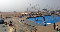 Brighton (Terekhova) Tags: sun mist holiday beach basketball misty fog boats brighton foggy bank boardwalk masts