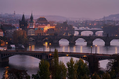 Prague evening (Dennis_F) Tags: city blue sunset people river lights evening sonnenuntergang prague capital bridges prag praha tschechien most hour stadt czechrepublic after nach brcken moldau karlv karlsbrcke ceskrepublika