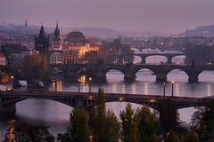Prague evening (Dennis_F) Tags: city blue sunset people river lights evening sonnenuntergang prague capital bridges prag praha tschechien most hour stadt czechrepublic after nach brcken moldau karlv karlsbrcke ceskrepublika