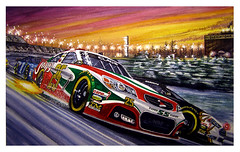 Sleightona Sunset (BT Illustrations) Tags: santa christmas winter snow art ford chevrolet car watercolor artwork automotive racing card nascar watercolour santaclaus christmascards watercolors realism greetingcards winterscenes winterscene autoart automotiveart racingart nascarart