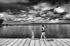 swimmer (zip po) Tags: ireland sky blackandwhite lake clouds mono co bnw leitrim loughallen