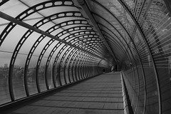 Another Poplar DLR Station Photo (and the moon rose) Tags: city bridge urban blackandwhite london station architecture poplar dlr poplardlrstation dlrstation