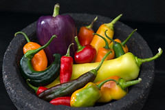 Pepper Bowl (Warriorwriter) Tags: food colors vegetables garden purple bell vibrant vivid banana peppers habanero caliente jalapeo spicyhot