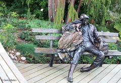 """Departure"" by George Lundeen (gerry.bates) Tags: park canada art bronze vancouver canon garden bench bc exhibition departure sculptures vandusenbotanicalgarden georgelundeen"