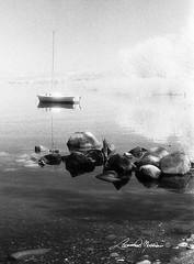 al lago (leonardo.noccioni) Tags: bw alberi barca sassi acqua bianco nero vt bolsena infrarosso