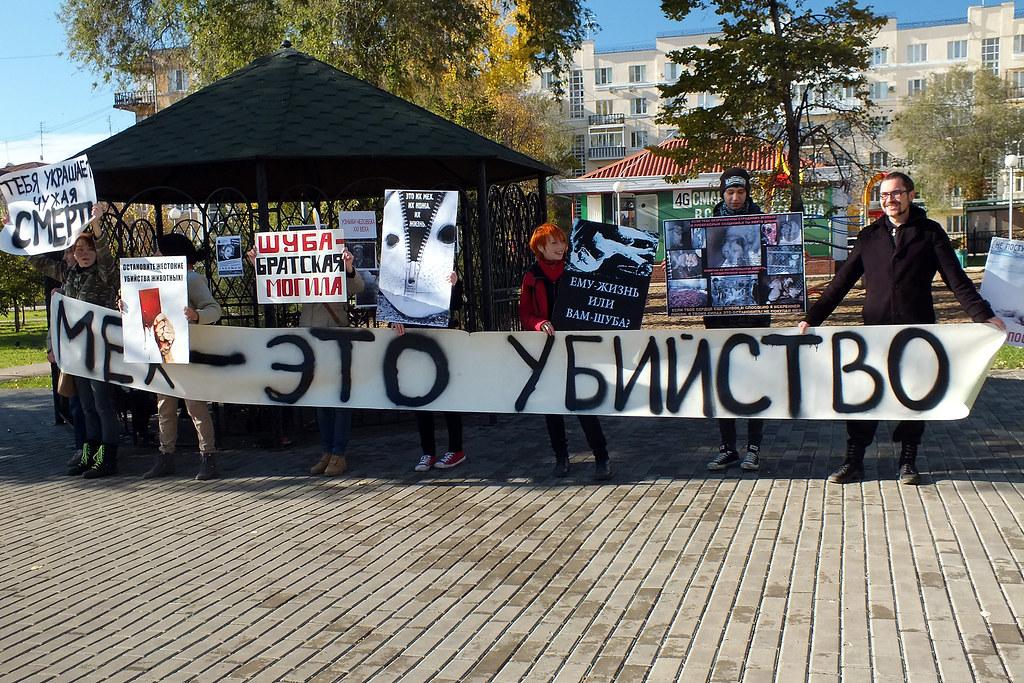 «Антимеховой марш» в сквере Высоцкого.