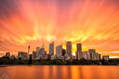 Inferno (ftan99) Tags: city longexposure fire nikon warm cityscape sydney australia cbd hdr mrsmacquarieschair digitalblending d700