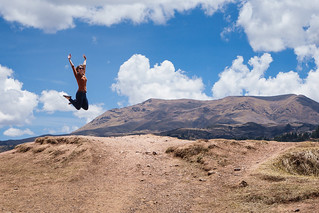 Heather, Jumping -- Sacsay Huaman, Peru