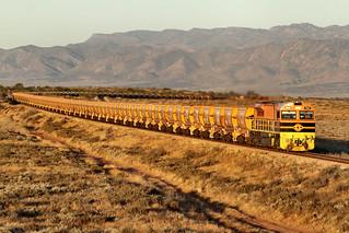 GWA008 train GWA006 GWA010 9612s Loaded GWA Southern Ore Stuart Highway Overpass Port Augusta 09 11 2013