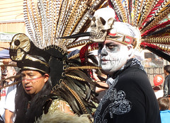 Day of the Dead Aztec Dancers (shaire productions) Tags: california people holiday man male men dayofthedead dead skeleton photography death skull oakland photo costume image decorative candid creative feathers picture pic mexican american diadelosmuertos tradition decor fruitvale skeletal imagery headdress
