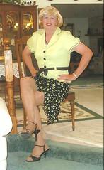Light Green Blouse (bobbievnc) Tags: black tv highheels legs cd skirt tgirl short blonde pantyhose crossdresser nylons shemale shortskirt tightskirt tanpantyhose