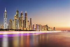 Surreal Dubai (Charn High ISO Low IQ) Tags: city longexposure skyline evening colorful dubai cityscape uae surreal coastline bluehour hdr waterreflection highrisebuilding jbr lightstream digitalblending dxoopticspro 1740mmf4l jumeirahbeachresidence canon6d hdrefexpro2 colorefexpro4