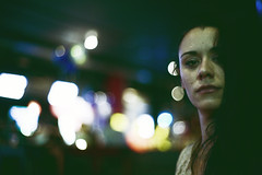 night portrait with shiny out of focus lights (gorbot.) Tags: portrait bar night glasgow f14 roberta canoneos5d colorefex nikonfmount carlzeisszf50mmplanarf14