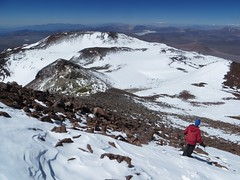 Descending from the summit of Bonete (6770m)