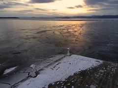 Dock on Frozen Lake Champlain (MrRomano) Tags: sunset lake ice burlington canon vermont romano champlain vt lakechamplain burlingtonvt lawrenceromano joeromano