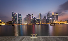 City Of Gold (Mabmy) Tags: city longexposure sunset sky colors clouds canon buildings pier singapore district central business cbd 16mm mbs sigma1224 1dx manualblending