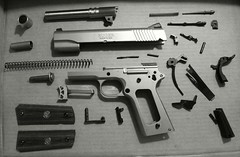 sploded ruga BW (Nemo Experiments) Tags: gun pieces parts taken 45 pistol handgun stripped dissassembled disassembly 1911 apart firearm exploded ruger 45acp sr1911