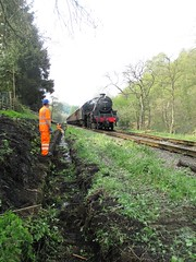 Stephen and Michael stand clear as 44871 passes the cleared ditch at The Grange 5May14