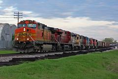 One hell of a BNSF lashup... (Machme92) Tags: railroad santafe cn rail row bn rails cp ge railyard railfan freight bnsf railroads emd atsf railfanning railfans trainrace burligrton