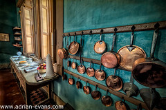 Pots and Pans (Adrian Evans Photography) Tags: uk food heritage texture cooking window kitchen cake fruit architecture buildings table interior victorian bowl historic pots british pan brass oldfashioned kitchenutensils mealpreparation copperpans victoriankitchen