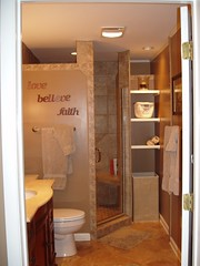 Cannon custom shower after, custom linen shelves