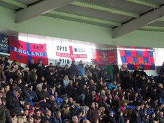 Palace supporters at Leicester (Paul-M-Wright) Tags: city addo football king power crystal stadium flag soccer leicester saturday palace flags v chip match fans february premier league 07 supporters 2015 cpfc lcfc ptid
