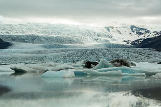 Fjallsarlon glacial lagoon with the Fjallsjökull in the background