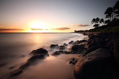 Kauai 25 (gsamie) Tags: ocean longexposure sunset usa beach nature canon landscape island hawaii rocks pacific unitedstatesofamerica wideangle hawai t3i 600d kiahunabeach gsamie guillaumesamie
