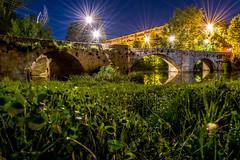 Puentecillas (Job I) Tags: city bridge blue sky grass stone architecture night river stars spain long exposure cityscape y alien surreal leon castilla palencia