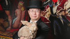 "Dr. Takeshi Yamada, the Immortalizer and his sea rabbit (Seara) of the AMC cable television's competitive fine art reality show ""Immortalized"", new unscripted original series, Premieres February 14, 2013. Copyright  2010-2013 AMC Network Entert (searabbits23) Tags: ny newyork sexy celebrity rabbit art hat fashion animal brooklyn asian coneyisland japanese star tv google king artist dragon god manhattan famous gothic goth uma ufo pop taxidermy vogue cnn tuxedo bikini tophat unitednations playboy entertainer oddities genius donaldtrump mermaid amc mardigras salvadordali performer unicorn billclinton seamonster billgates aol vangogh curiosities sideshow jeffkoons globalwarming mart magician takashimurakami pablopicasso steampunk damienhirst cryptozoology freakshow realityshow seara immortalized takeshiyamada roguetaxidermy searabbit barrackobama ladygaga climategate  manwithrabbit"