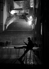 The last message (Tmuussoni) Tags: street light shadow vacation urban blackandwhite man town phone steps croatia monochrom dubrovnik oldcity visitcroatia ilobsterit