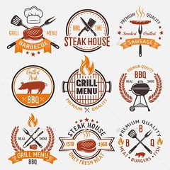 BBQ Retro Style Emblems (Miscellaneous) (hypesol) Tags: summer food holiday fish cooking menu stars fire cuisine design pig cow symbol beef knife sausage fork bbq fresh meat grill pork cap steak barbecue coal grilled tool spatula roasted