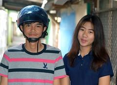 young couple (the foreign photographer - ) Tags: portraits thailand nikon couple bangkok helmet young lard motorcycle bang bua khlong bangkhen d3200 phrao
