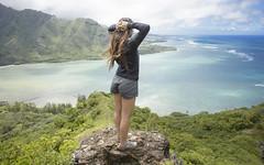Kahana Perch (Marvin Chandra) Tags: ocean blue mountain hawaii oahu hiking ridge hiker 24mm kahana manamana 2016 d600 marvinchandra katsweets