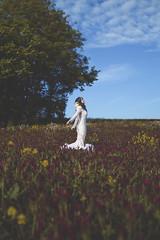 Breathe (Pauline L photographe) Tags: flower nature countryside portrait girl breathe whitedress sky fineart fineartphotographer fineartphotography extrieur