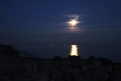 Blue blue Fullmoon (Threin Ottossen) Tags: blue sea sky moon seascape beach water night skyscape landscape denmark coast rocks outdoor stones fullmoon shore serene lolland maglehoej