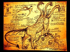 This artwork of the Odyssey monster was drawn by Dr. Takeshi Yamada on September 16, 2012 for the AMC new unscripted television series IMMORTALIZED. (searabbits23) Tags: ca ny newyork sexy celebrity art hat fashion animal brooklyn asian coneyisland japanese star tv google king artist dragon god vampire famous gothic goth uma ufo pop taxidermy vogue cnn tuxedo bikini tophat unitednations playboy entertainer oddities genius mermaid amc mardigras salvadordali performer unicorn billclinton billgates aol vangogh curiosities sideshow jeffkoons globalwarming mart magician takashimurakami pablopicasso steampunk losangels damienhirst cryptozoology freakshow leonardodavinci realityshow seara immortalized takeshiyamada roguetaxidermy searabbit barrackobama ladygaga climategate