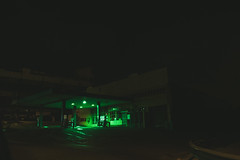 johannesburg (elsableda) Tags: africa building green abandoned car station night dark southafrica empty south gas midnight haunting petrol johannesburg joburg