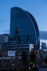 Blue Sky Hotel in der blauen Stunde (swissgoldeneagle) Tags: blue sky skyscraper hotel himmel bluesky mongolia d750 bluehour blau mn blauerhimmel ulaanbaatar hochhaus ulanbator mongolei blauestunde