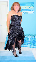 New Dress (Trixy Deans) Tags: cute classic tv highheels cd tgirl transvestite satin transgendered crossdresser crossdress transsexual classy tgirls satindress