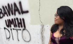 Familiar Sight (mikeeliza) Tags: street portrait woman brown black hot sexy pee public girl beautiful smile wall painting hair poster asian photography graffiti glasses golden big election shiny long pretty do erotic dress purple skin philippines young lips here full neighborhood exotic figure manila local pinay filipina brunette oriental cleavage eliza ethnic indonesian busty malay ancestry dito thirdworld negrita bawal not umihi mikeeliza