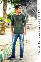 Stand Still! (themj_productions) Tags: road park blue pakistan portrait blackandwhite sunlight backlight photography colorful hill photographers posing sneakers jeans denim portfolio karachi 2in1 modelling stiched 2016 themjproductions