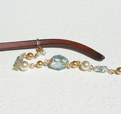 Gold Eyeglass Chain - Aqua Blue Stone, Cream Pearl and Crystal Eyeglass Holder Necklace (JanJat Jewelry) Tags: eyeglassholder eyeglassnecklace eyeglasslanyard eyewear eyeglasschain beaded goldeyeglasschain gold lanyard etsy accessories pearl lightblue mermaid