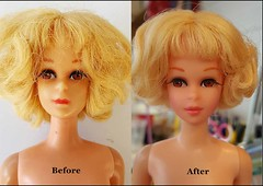 Francie before and after (Pania Cope) Tags: hk vintage mod ooak barbie skipper wip scooter before hong kong restore restoration after ponytail resin tnt bild clone lotta lilli midge tlc repaint pania faceup sidepart bubblecut