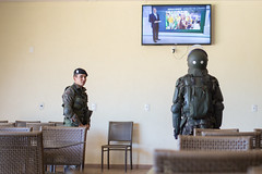 Brazil (morten f) Tags: brazil brasil police armour watching tv news helmet iguazu falls cafe south america latin militr military soldier
