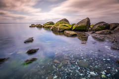 Baltic SEA (Florian Bu Fotografie) Tags: sea cloud color green beach rock strand see sand meer wasser long exposure outdoor himmel wolke wolken baltic grn farbe farben wather ozean lzb heiter langzeitgelichtung