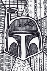 Bob Fett (Manurnakey) Tags: starwars postcard doodle handdrawn maythe4th zentangle zendoodle
